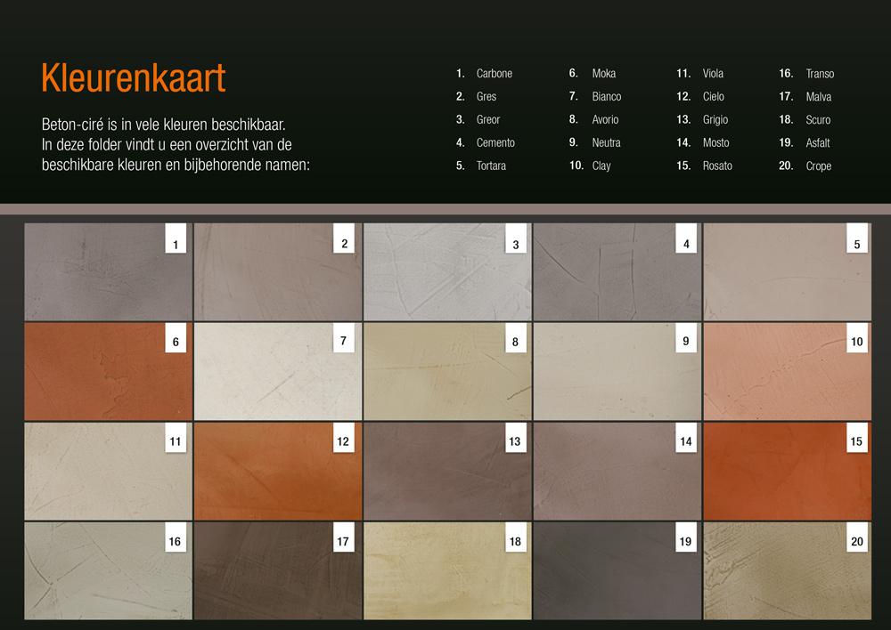 betonfloor kleurenkaart